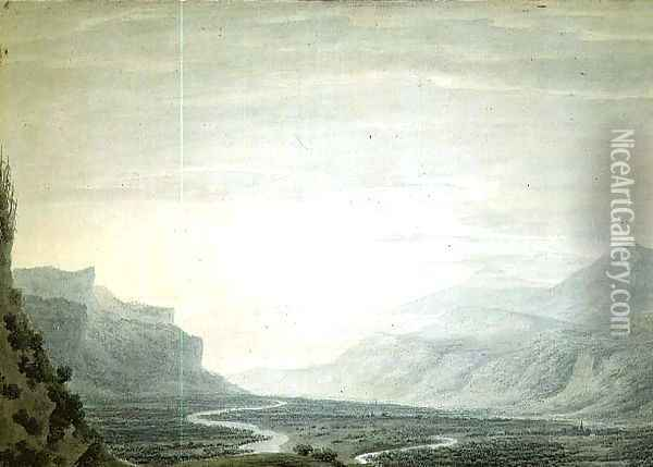 Valley with winding streams, lower part of Oberhasli from the South East Oil Painting - John Robert Cozens