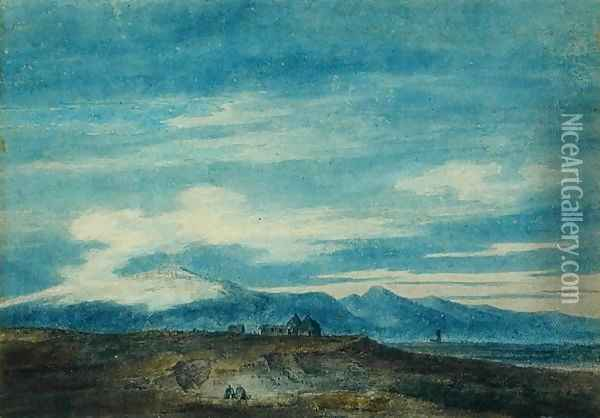 The Euganean Hill from Padua Oil Painting - John Robert Cozens