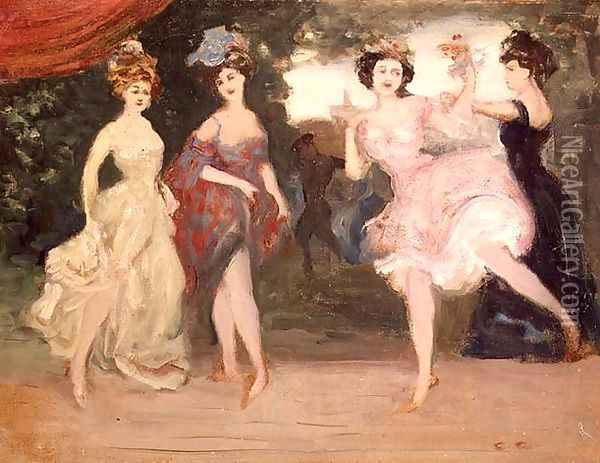 Four Dancing Girls on the Stage Oil Painting - Charles Edward Conder