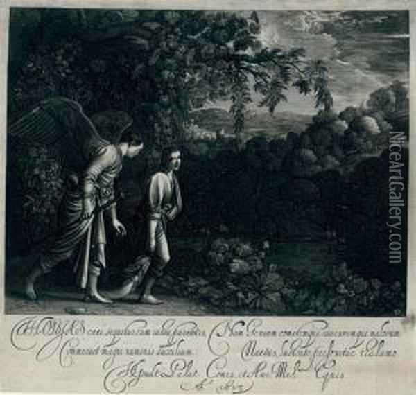 Tobias And The Angel ('the Large Tobias') Oil Painting - Hendrick Goudt