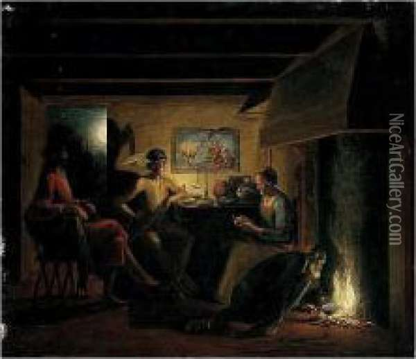 Jupiter And Mercury In The House Of Philemon And Baucis Oil Painting - Hendrick Goudt