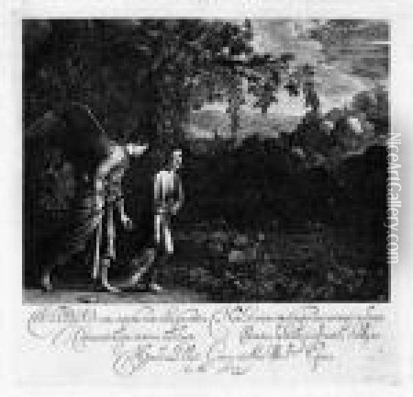 Tobias And The Angel, After A. Elsheimer Oil Painting - Hendrick Goudt