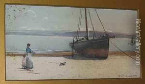 Fisherman Caulking His Boat, And Another, Woman And Child Before A Beached Fishing Boat Oil Painting - Carleton Grant