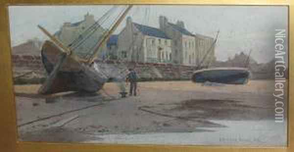 Shore Scene With Fisherman Caulking His Boat Oil Painting - Carleton Grant