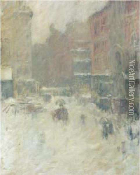 Snowy Day In Union Square Oil Painting - Edmund William Greacen
