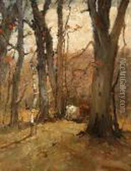 Cattle Grazing Among The Trees Oil Painting - Charles Edwin Lewis Green