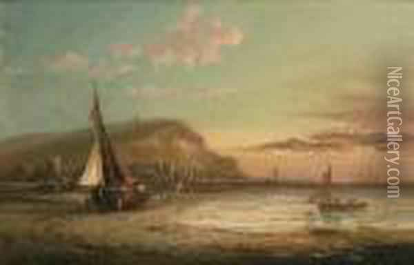A Busy Shipping Lane; Low Tide Oil Painting - George Gregory
