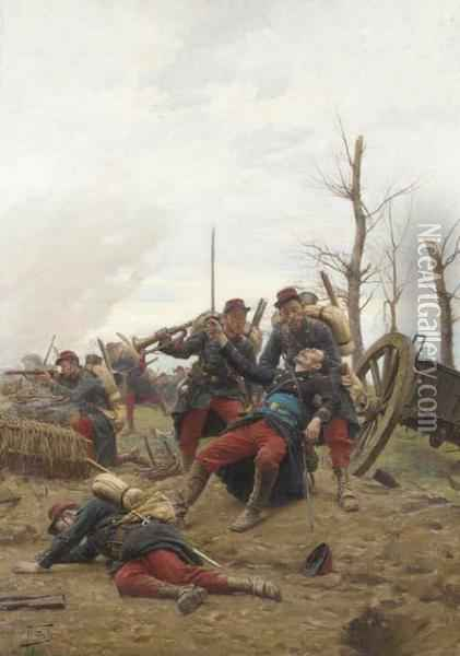 The Fallen Comrade Oil Painting - Paul Louis Narcisse Grolleron
