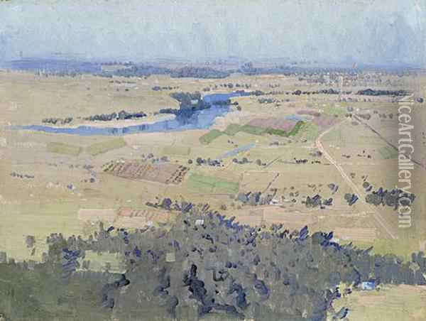 Study For Nepean River Landscape Oil Painting - Elioth Gruner