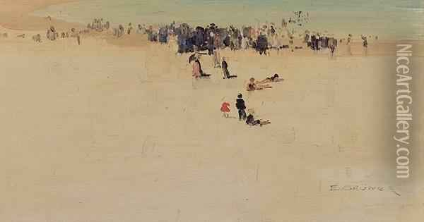 Along The Sands Oil Painting - Elioth Gruner