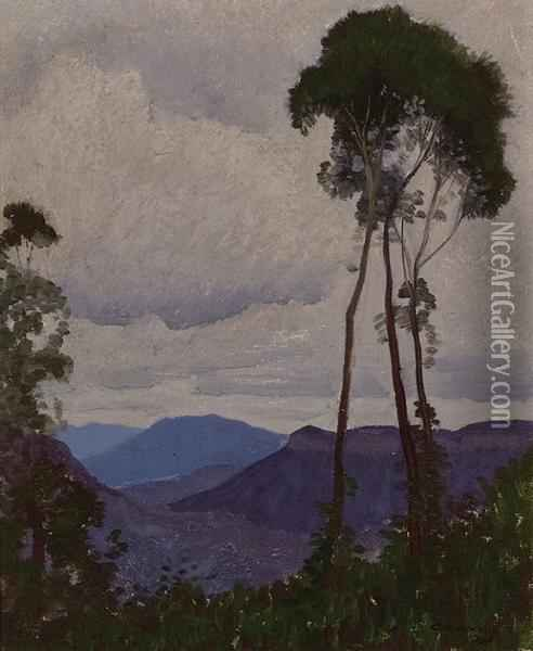 Blue Mountains Oil Painting - Elioth Gruner