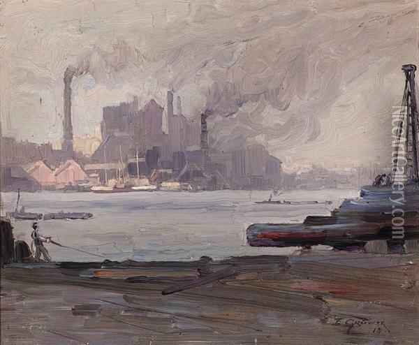 Industry, Sydney Harbour Oil Painting - Elioth Gruner