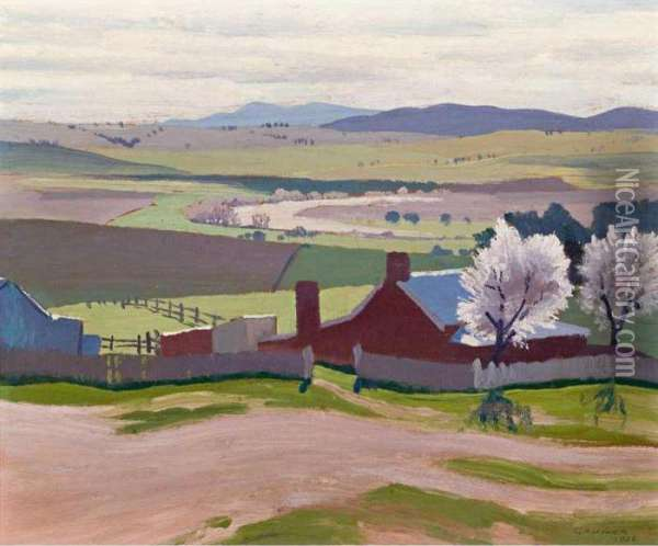 Spring: A Farm And Blossom Trees At Bathurst Oil Painting - Elioth Gruner