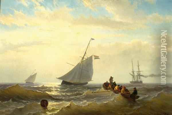 Two Fishing Boats, A Steam Ship And Men On A Flat-boat On Open Sea Oil Painting - Willem Jun Gruyter