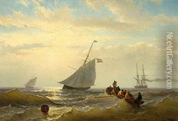 Two Fishing Boats, A Steamboat And Men In A Flat-boat On Open Sea Oil Painting - Willem Jun Gruyter