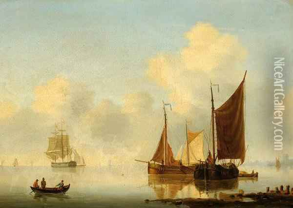 Moored Ships On A Calm Estuary Oil Painting - Willem Jun Gruyter
