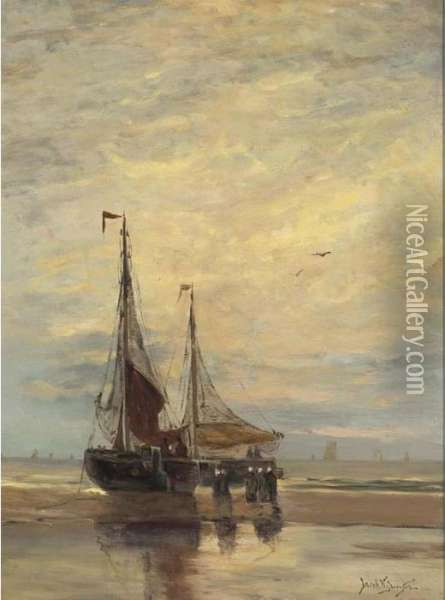 Beached Bomschuiten Oil Painting - Willem Jun Gruyter