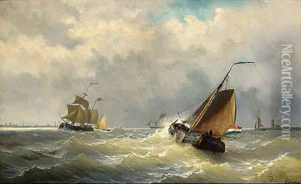 Shipping In Choppy Waters A Town In The Distance Oil Painting - Willem Jun Gruyter