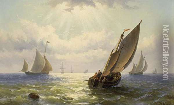 Sailing Vessels On A Calm Sea Oil Painting - Willem Jun Gruyter