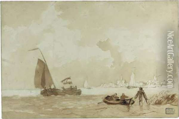 A Rowing Boat With Figures And A  Sailing Vessel Near A Village(recto); A Study Of A Sailing Vessel  (verso) Oil Painting - Willem Jun Gruyter