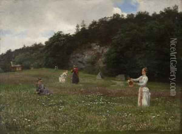 Flowers Of The Meadow,hanko Oil Painting - Hans Fredrik Gude