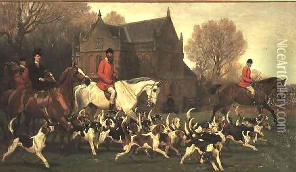 Countess Spencer on the hunter 'Goldfinch' and John Poyntz, 5th Earl Spencer on 'Misrule', with the Pytchley Hunt Oil Painting - John Charlton