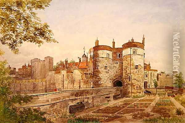 View of the Tower of London, showing Byward Tower, Beauchamp Tower, Devereux Tower and St. Thomas Tower, 1883 Oil Painting - John Crowther