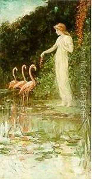Standing Woman with Three Pink Flamingos Oil Painting - Frederick Stuart Church