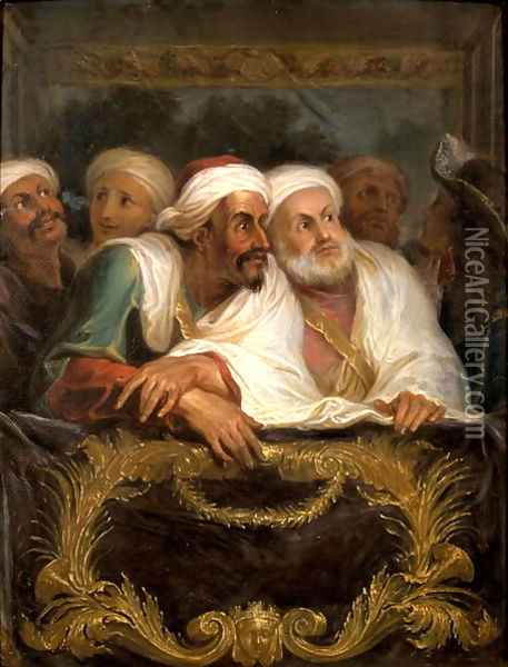 The Moroccan Ambassador and his Entourage at the Italian Comedy in Paris in February 1682 1682 Oil Painting - Charles-Antoine Coypel