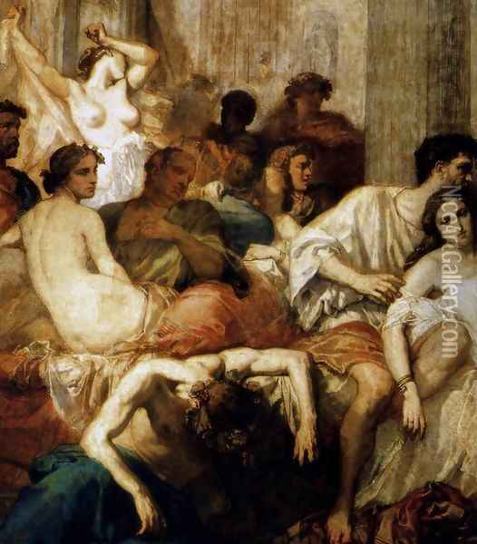 The Romans of the Decadence (detail 1) 1847 Oil Painting - Thomas Couture