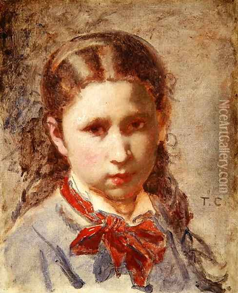 Head of a girl Oil Painting - Thomas Couture