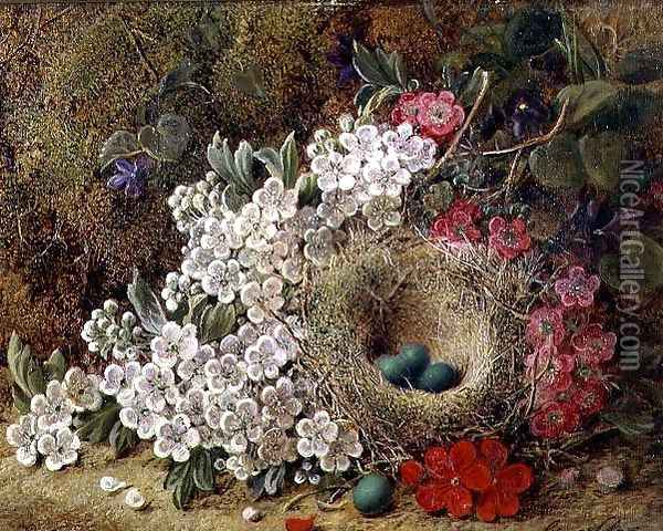 A bird's nest and blossom on a mossy bank Oil Painting - George Clare
