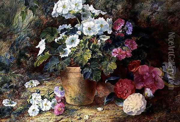 A Still Life of Pelargoniums in a Pot with Camellias Oil Painting - George Clare