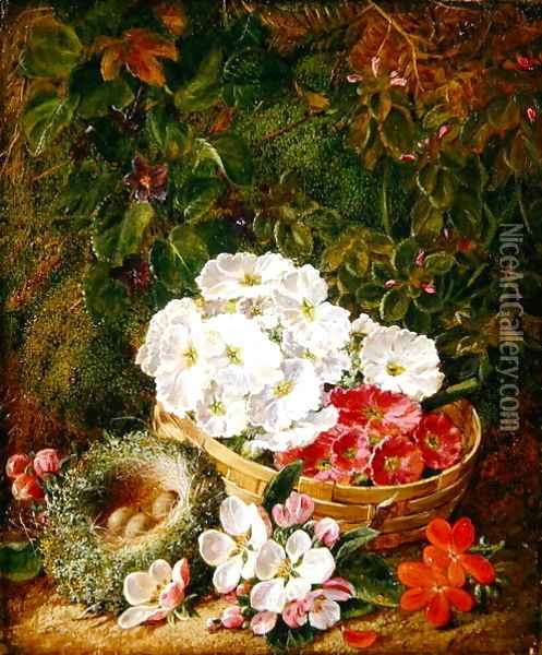 Still Life of Apple Blossom and Violets With Primulas in Wicker Basket Oil Painting - George Clare