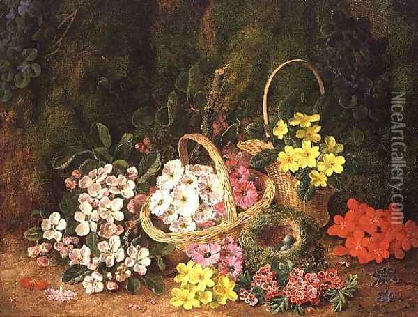 Spring Flowers in baskets Oil Painting - George Clare