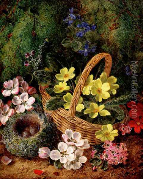 Apple Blossom And A Bird's Nest On A Mossy Bank Oil Painting - George Clare