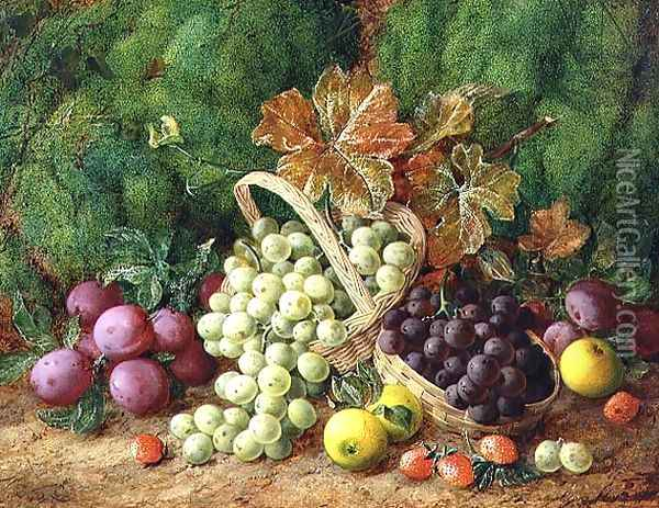 Still Life with Plums, Apples and Baskets of Grapes Oil Painting - George Clare