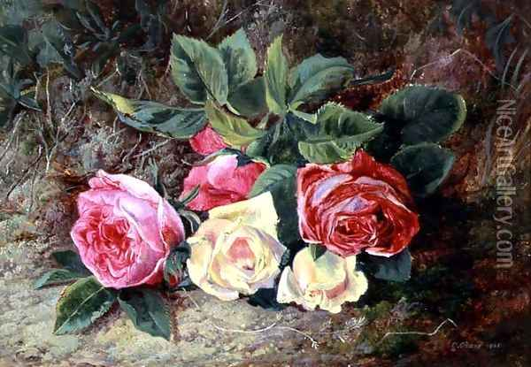 Roses, 1865 Oil Painting - George Clare