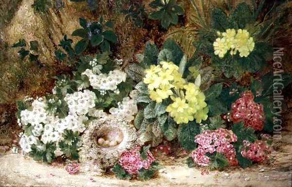 Still Life with Primroses Oil Painting - George Clare