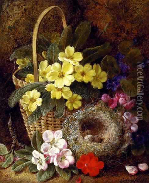 Still Life with Primroses, Violas, cherry Blossom and Geraniums and a Thrush's Nest Oil Painting - George Clare