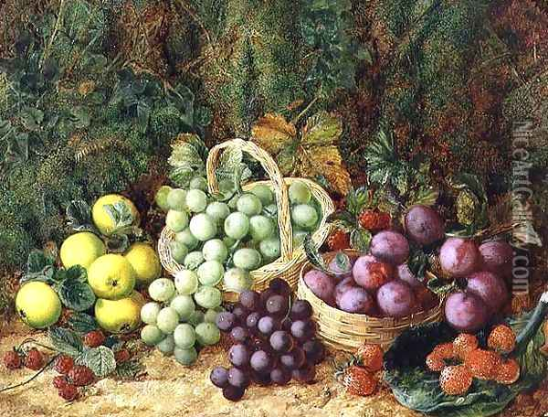 Still Life with Apples and Baskets of Grapes and Plums Oil Painting - George Clare