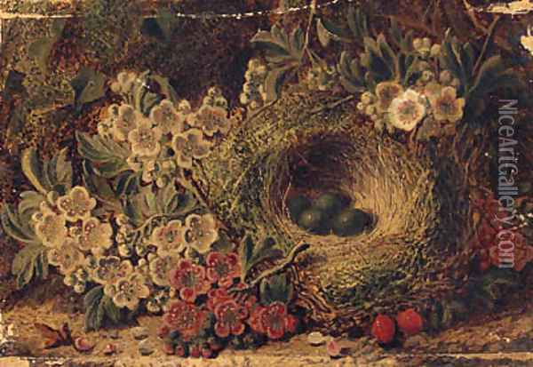 Apple Blossom And Eggs In A Bird'S Nest On A Mossy Bank Oil Painting - George Clare