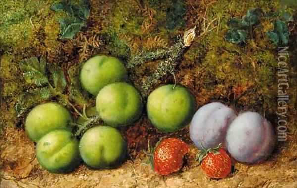 Plums and strawberries on mossy bank Oil Painting - George Clare