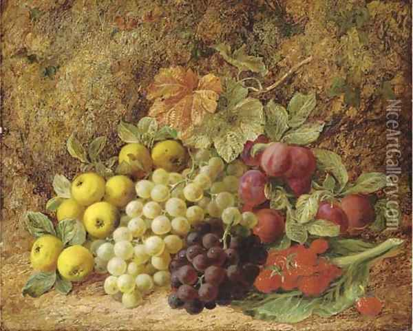 Apples, grapes, plums and strawberries on a mossy bank Oil Painting - George Clare