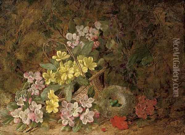 Hawthorn blossom, primroses and a bird's nest on a mossy bank Oil Painting - George Clare