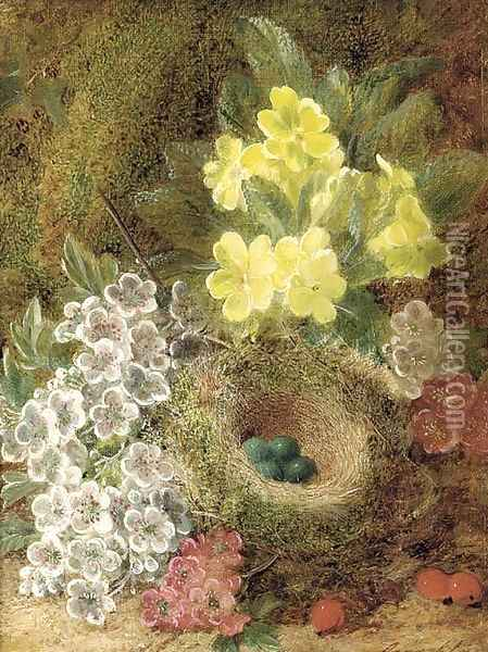 May blossom, primulas, berries, and a bird's nest with eggs, on a mossy bank Oil Painting - George Clare