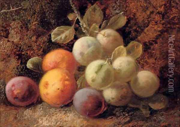 Plums and greengages Oil Painting - George Clare