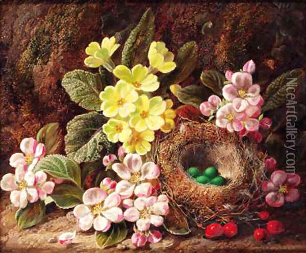 Primroses, apple blossom, and a bird's nest, on a mossy bank Oil Painting - George Clare