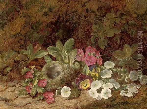 A bird's nest with primulas, pansies and blossom on a mossy bank Oil Painting - George Clare