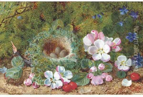 Apple blossom, berries and a bird's nest with eggs on a mossy bank Oil Painting - George Clare